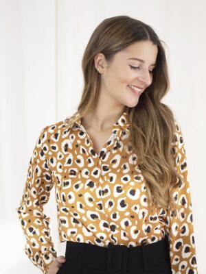 Leopard blouse cognac