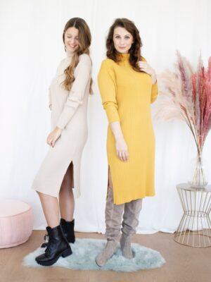Kleed ribtricot geel beige