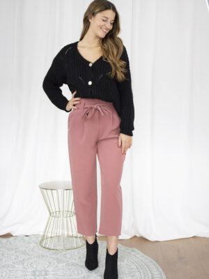 Cardigan zwart broek roze