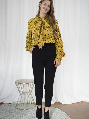 Luipaard blouse broek zwart