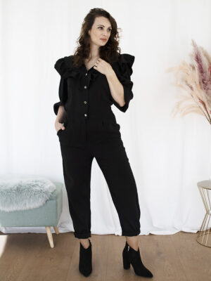 Zwarte jumpsuit rushes