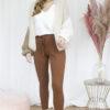 Beige cardigan bruine tricot broek