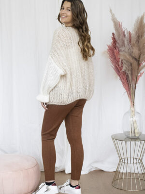 Beige colorblock cardigan cognac jogging