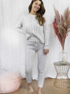 Knitted homewear set grijs