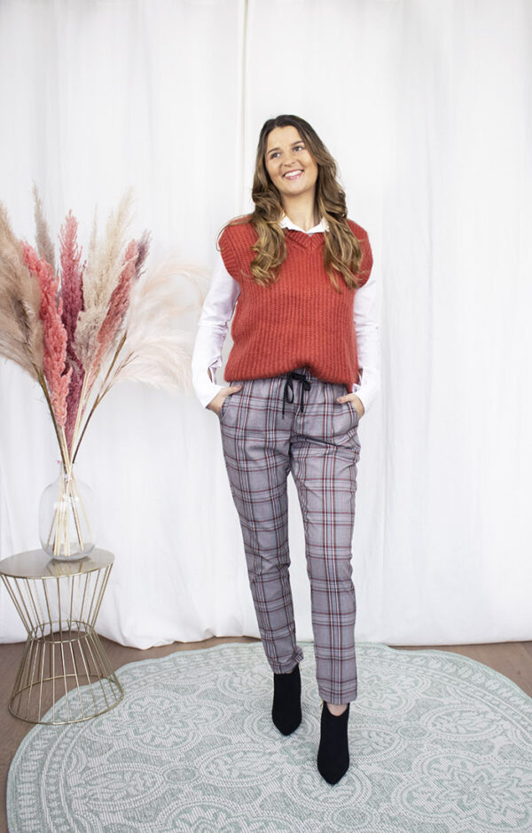 spencer débardeur rood trui dameskleding trendy broek ruiten